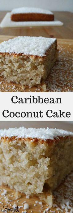 Caribbean Coconut Cake This delicious coconut and rum cake is fluffy and moist which makes it the most delicious treat. Easy to make, it will take you to the Caribbean in one bite! Coconut Recipes, Baking Recipes, Cake Recipes, Dessert Recipes, Coconut Cake Easy, Coconut Cakes, Vegan Coconut Cake, Coconut Rum, Carribean Food