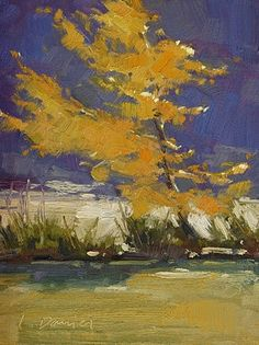 Sun-Struck Sapling and tips for using refined linseed oil as a medium, painting by artist Laurel Daniel