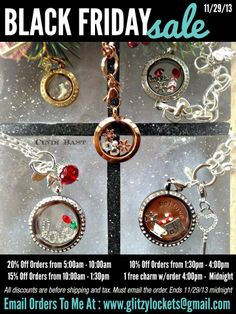 Don't forget Origami Owl on Black Friday! Email me your order before midnight and get a discount or free charm. I will contact you for payment. Happy Thanksgiving and Happy Shop www.christinapatterson.origamiowl.com send order to itsowllovely@gmail.com