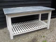 Restored Hungarian Oak Butchers table with a Zinc top and Duck Board under.