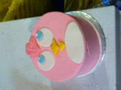 Cute pink angry bird cake. Abbey will love this!