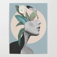 Floral Portrait /collage Stationery Cards by - Set of 3 Folded Cards x Disney Collage, Simple Artwork, Collage Design, Canvas Prints, Art Prints, Diy Frame, Fine Art, Digital Collage, Portrait