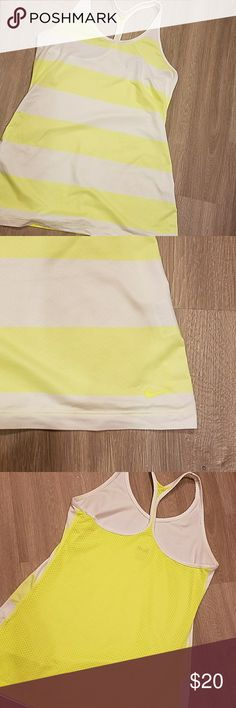 Nike tank The yellow is neon yellow. It's much brighter that what's shown through the pics.thx Nike Tops Tank Tops