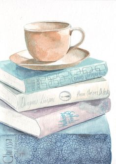 Original watercolor painting teacup on books great reads art, bliss.