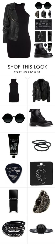 """Rocker Chic"" by felytery ❤ liked on Polyvore featuring New Look, Moscot, Dr. Martens, TokyoMilk, Goody, Floyd, Topshop, Illamasqua, Cuero and Pieces"