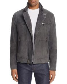JOHN VARVATOS COLLECTION GRAY SUEDE MOTO JACKET. #johnvarvatoscollection #cloth #