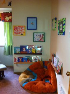 Reading nook w/ floating bookshelves DIY (used light stain to show varying hard woods) ;)