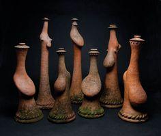 Barry Brickell, Seven columnar peopillics, 2004, terracotta