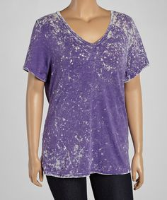 Another great find on #zulily! Purple Tie-Dye V-Neck Tee - Plus by TROO #zulilyfinds