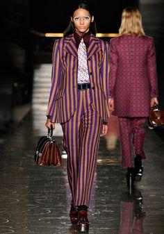 Fall 2012 Miu Miu  Pant suits Bold purple/orange stripes  with geometric tie & shirt collar