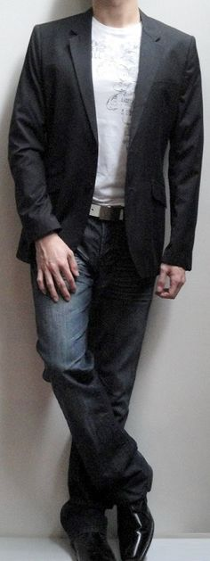 Mens Black Blazer White Graphic Tee White Leather Belt Dark Blue Jeans Black Leather Loafers
