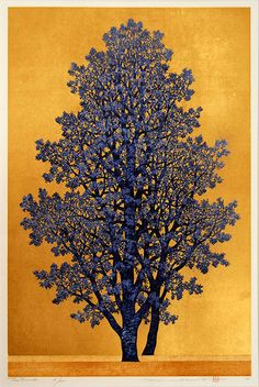 """Majestic Tree "" (Tree Scene 130) by Hajime Namiki,  an original woodblock print, signed and numbered in Pencil.  Edition of 200, 2008  Image size:  20 7/8 in. x 13 5/8 in."