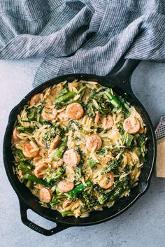 Turn chicken sausage, quick-cooking orzo, and Broccolini into an easy one-skillet pasta dinner with this weeknight-friendly recipe.