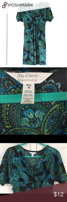 Ma Cherie Maternity Dress Black Paisley Size Med Black maternity dress with blue and green paisley design. Size medium. Hits at or just above knees depending on height. Has small loops on each side for a skinny belt, however does not come with belt. Ma Cherie Dresses