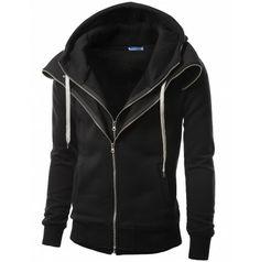 Mens Clothes Layered Napping Zip up Hoddies (161D) www.doublju.com