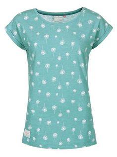 Brakeburn - Zelenomodré dámské tričko s chmýřím z pampelišek Dandelion  Boyfriend - 1 0f8a4c1337