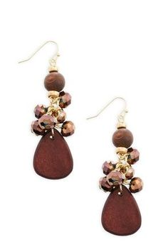 Cato Fashions Wooden Cluster Earrings #CatoFashions