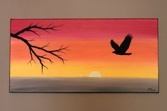 Original Abstract Acrylic Painting on Canvas Set Free Eagle Sunset Tree Branch Ombre Yellow Orange Red Silhouette Bird Flying Warm Summer Oil Pastel Drawings, Oil Pastel Art, Art Drawings, Easy Canvas Painting, Canvas Art, Silhouette Painting, Bird Silhouette, Shadow Silhouette, Pictures To Paint