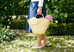 Straw bag and chanel flats