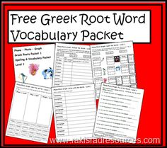 Free greek root word spelling and vocabulary packet to help elementary students analyze, understand and utilize words with the greek roots p...