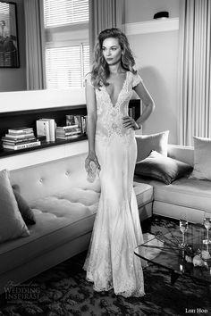 lihi hod wedding dresses 2015 bridal gown plunging v neckline cap sleeves lace bodice sheath dress style noelle