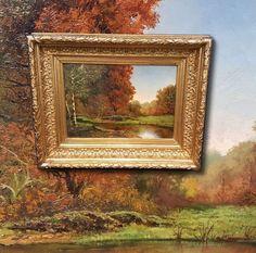Théodore Levigne (*1848 -1912) Herbstlandschaft. Meisterliches antik Ölgemälde