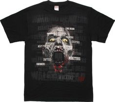 AMCs The Walking Dead refers to zombies as just about everything except zombies, but the Walking Dead Walker Names T-Shirt will help you keep track of the apocalyptic lingo so you won't just kick back and wonder what all the fuss i