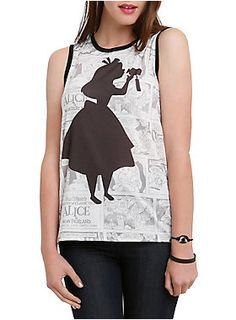 Sleeveless top from Disney's <I>Alice In Wonderland</I> with an Alice drinking from a bottle silhouette design on a comic background.<ul><li> 100% polyester</li><li>Wash cold; dry low</li><li>Imported</li><li>Listed in junior sizes</li></ul>