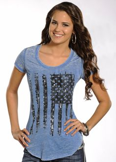 Rock & Roll Cowgirl Vertical American Flag T-Shirt: Sierra Western Wear