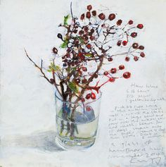 Kurt Jackson: A glass of hawthorn haws. November 2014 Campden Gallery, fine art, Chipping Campden, camden gallery, contemporary, contemporary arts, contemporary art, artists, painting, sculpture, abstract painting, gloucestershire,  cotswolds, painting for sale, artwork for sale, modern art gallery, art exhibitions,arts gallery, gallery art, art gallery UK