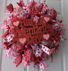 Red and Pink Valentine Wreath, Happy Valentine's Day Wreath, Wreath, Valentine Wreath for Door on Etsy, $67.50