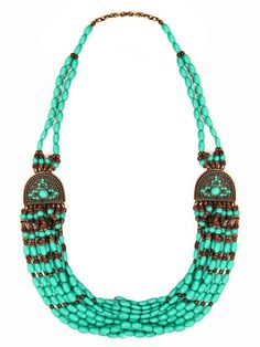 Tribal Turquoise Beaded Necklace    Multi Strand  $30