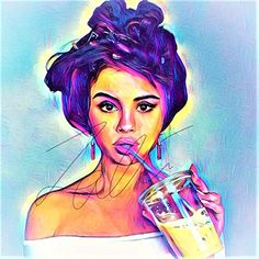 Selena Gomez Abstract Drawing Print Poster Hand Drawn Pop Art Vibrant Painting #GOMEZ_ABSTRACT2