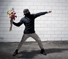 Banksy art recreated using live models