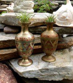 FREE SHIPPING-Vintage PAIR Etched Enamel Brass Vases-Made in India-Bohemian-Wedding Decor-Ethnic Decor-Air Plant Holder-Bud Vases by ellansrelics02 on Etsy https://www.etsy.com/listing/475892629/free-shipping-vintage-pair-etched-enamel