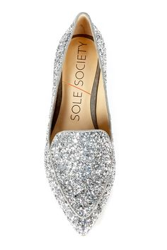 Silver glitter smoking slipper | Sole Society Cammila