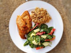 pan fried chicken cutlets, Near East roasted pecan garlic rice and green salad with Ken's lite ceasar dressing