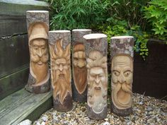 Tree Stump Face Carvings   Fair Trade Hand-Carved Wooden Green Man Full Tree Trunk/Stump Log ...