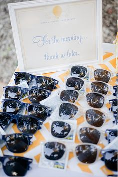 morning after wedding favors...always loved the sunglasses idea, but adding the Advil is a nice touch :) (these would be good in Welcome bags for out of town guests)