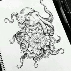 Tattoo trends - octopus mandala tattoo commission on behance Trendy Tattoos, New Tattoos, Body Art Tattoos, Cool Tattoos, Ankle Tattoos, Tatoos, Forearm Tattoos, Girl Stomach Tattoos, Ocean Life Tattoos