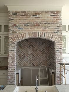 Reclaimed chicago brick kitchen chevron backsplash  Follow our_coastal_farmhouse on insta for more photos
