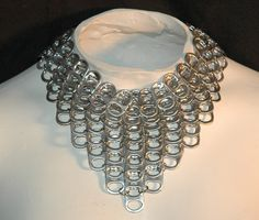 Chainmalle Silver Metal Necklace With Pop Tops by LeafLee on Etsy