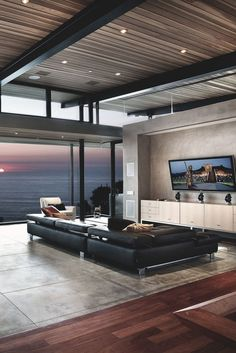 Interior   Modern living room   Light and views   Views   Inspiration   Architecture   Homes   Modern   Clean Lines   Future House   Wood FLoors   Cement   Windows   Homes I love