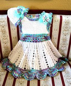 Hand crochet girl dress in white cotton thread by EmporiumHouse, $80.00
