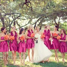 Pink Bridesmaid Dresses. pink and orange wedding colors, short bridesmaid dresses. hot pink fuschia dresses. satin dresses. pink wedding inspiration