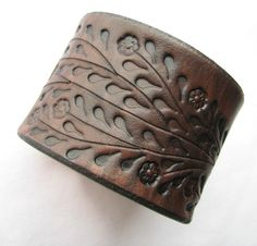 Wide Brown Leather Cuff Bracelet  Floral Vine by aosLeather