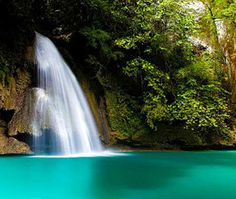 Kawasan Falls on Cebu Island in the Philippines.