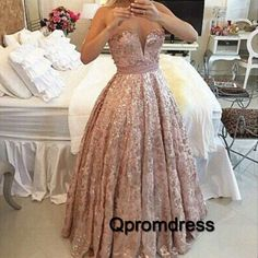 Champagne lace satin long poofy prom dress, ball gown, prom dress 2016