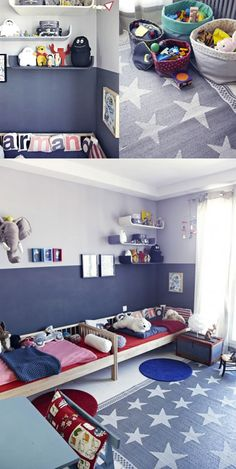 such a nice double bedroom! Baby Boy Rooms, Baby Room, Shared Rooms, Kid Spaces, Baby Decor, Kids House, Room Inspiration, Kids Bedroom, Room Decor