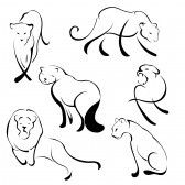 illustration of Lion Design Set made with simple line only stock photography